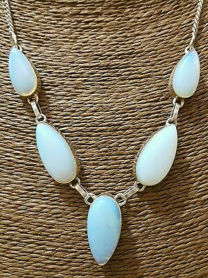 925 Sterling Silver Necklace With Large Opalite, Heavy