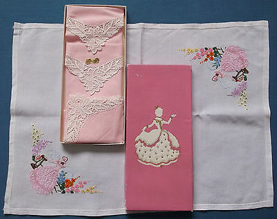 Vintage St Michael M&s Crinoline Lady Box Pink Hankies Embroidered Handkerchief