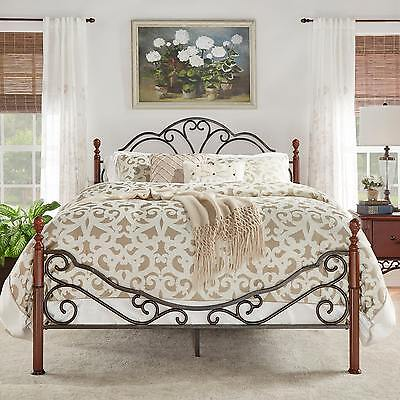 Lacy Iron Metal Bed Frame Set Scroll Queen Size Cherry/Bronze Antique Victorian