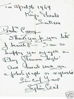 Sylvia Cecil English Actress Singer Hand written Letter  1949