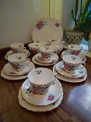 Colclough Bone China 8173 Floral Pattern 21 Piece Tea Set