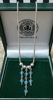 Sterling Silver Necklace/choker With Delicate Blue Beads, 925 Silver