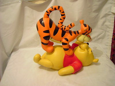 Rare Disney Winnie The Pooh and Tigger Playing Resin Statue Figurine