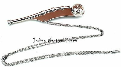 Navy Ship Bosun's Pipe Copper/Brass Boatswain Whistle Chain Charm silver Finish