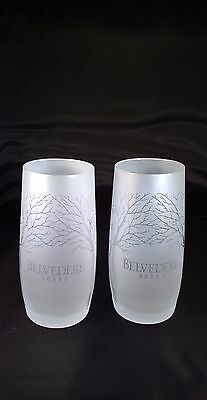 BELVEDERE FROSTED GLASSES x 2 (TWO) - ETCHED BELVEDERE VODKA NEW - FREE UK POST