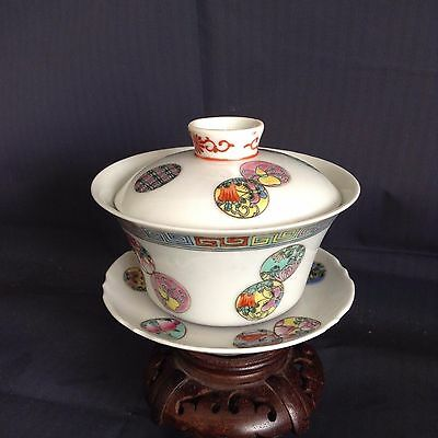 An Antique Chinese Famille Rose Porcelain Covered Cup(3 pieces)