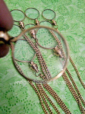 LOT OF 25 Pcs Antique Vintage Style Brass Magnifying Glass Key-chain / Locket