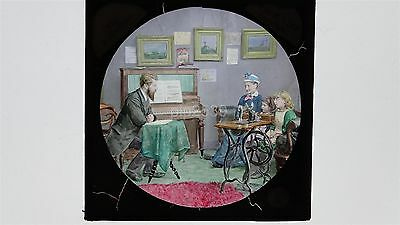 Piano & Sewing Machine From Life  - Hand Tinted Glass Lantern Slide