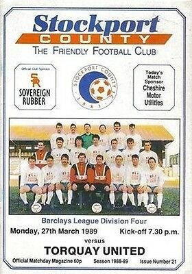 Stockport County Torquay United 27/03/89 EDGELEY Park football programme