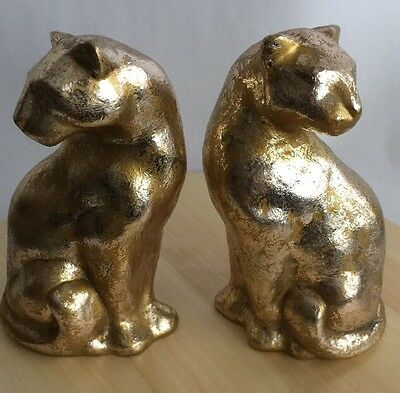 1996 Gold Leopard Panther Book Ends Weeping Gold Mid Century Modern Heavy