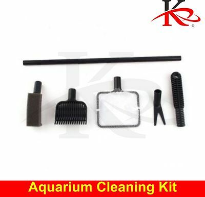 Aquarium Complete Cleaning Kit 4 In 1 Brush Fish Net Scraper Sponge Gravel Rake