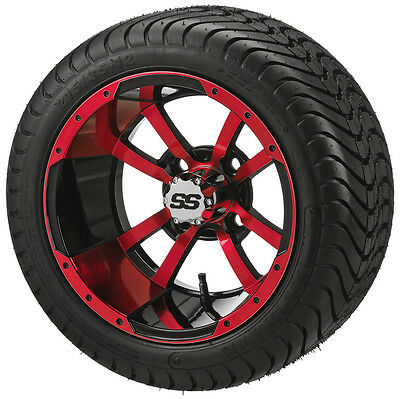 "Pair red blue white 12"" Aluminum Alloy Golf Cart Car Rims Wheels & Tires Mounted"