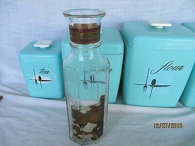Antique ACME Sweet Gherkins Glass OCTAGANOL Jar with Paper Labels