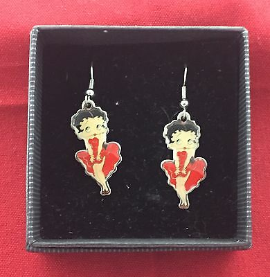 Betty Boop Enamel Earrings Full Color Classic Betty Cute Red Dress Brand New