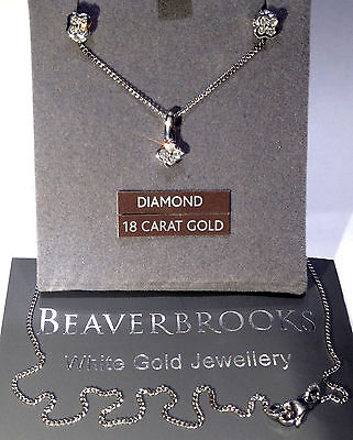 18ct white Gold Diamonds Necklace & Earrings Set BeaverBrooks
