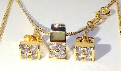 18ct Gold Diamond Necklace & Earring set Goldsmiths