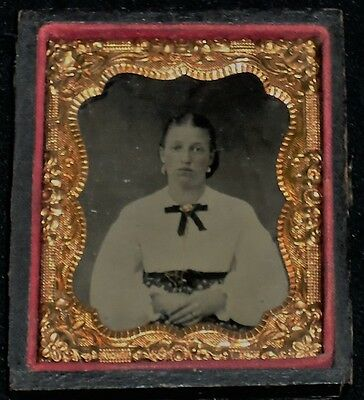 Vintage 1800's 1/9th Plate Tintype of Young Woman/Gold Jewelry/Half Case