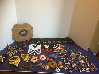 Large Lot Military Pins And Patches Bars Insignia Sterling