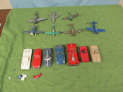 Vtg Lot Of 14 Plastic Cars And Planes