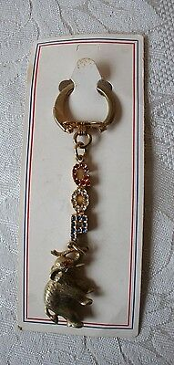 VINTAGE GOP Republican RED WHITE & BLUE Rhinestone Keychain on card