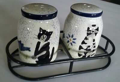 Creatively Yours Hand Painted Kitty Cat Salt and Pepper Shakers with metal stand