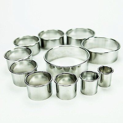 Stainless Steel Professional Round Pastry Dough Cutters (Set of 11)