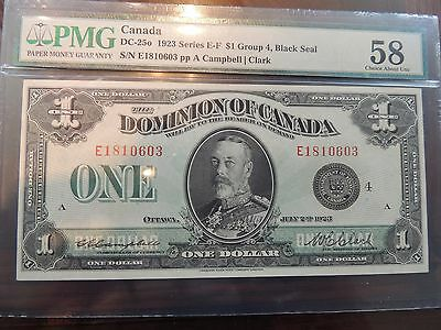 1923 DOMINION OF CANADA $ 1 ONE DOLLAR DC-25o CAMPBELL CLARK PMG 58 CHOICE AU