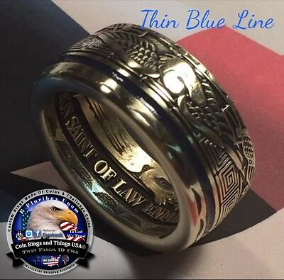 Thin Blue Line Police Law Enforcement Reversed StMichael Challenge Ring