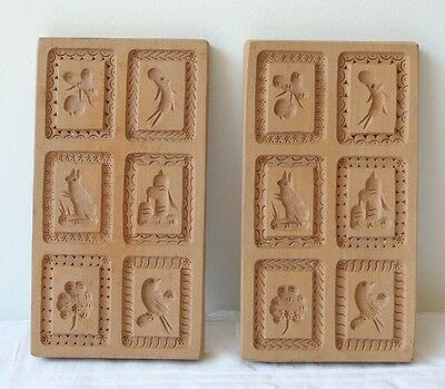 Folk Art Speculaas Springerle Cookie Butter Print Mold 6 Picture Stamps Vermont