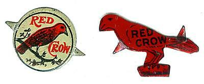 LOT of 2 DIFFERENT RED CROW VINTAGE TIN LITHOGRAPHED TOBACCO TAGS • $13.05