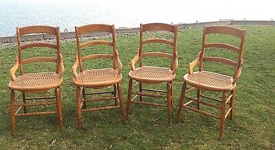 Set 4~Country Ladderback Victorian Maple Cane Seat Dining Chairs w Hip Rests