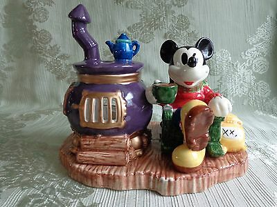 Mickey Mouse / Pot Belly Stove Ceramic Figurine -Tea Light/Votive Candle Holder