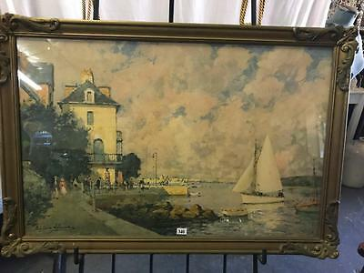 .SIGNED PAUL EMILE LECOMTE (1877-1950)..MOUTH OF RANCE..GILT FRAMED PRINT 57x84