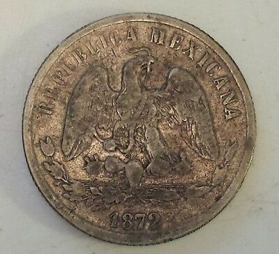"""1872 Mexico 50 Centavos""  Silver (.903) Coin - Vf - Xf Condition"