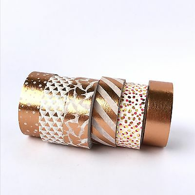 Washi Tape Set Rose Gold Foil Stripes Polka Dots Butterfly 6 x 10m