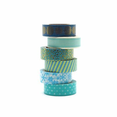 Aqua Washi Tape Set Turquoise Gold Foil Snowflakes Stripes 6 x 10m