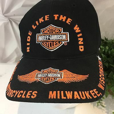 Harley Davidson Ride Like The Wind Black Embroidered Wings Hat