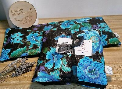 Large Wheat Bag Heat Pack Microwave 'Love My Wheat Bag' on fb Blue Floral