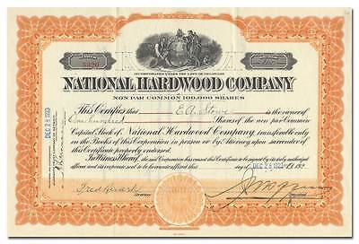 National Hardwood Company Stock Certificate