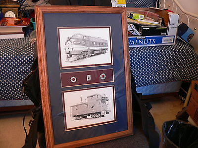 Northerm Pacific Print by Railroad Art by Scotty and 3 Collectible NP Pins
