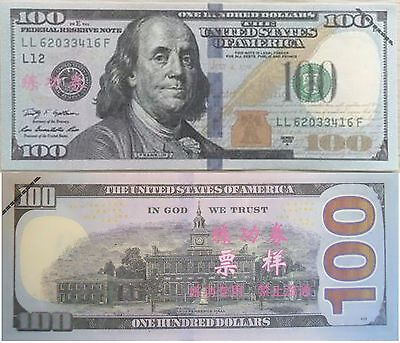 New-Style Chinese Training $100 Dollar Bill Collectible Funny Money Novelty Note