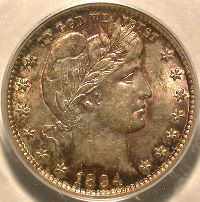 1894-S Barber Quarter PCGS AU-58 Extraordinary Toning!