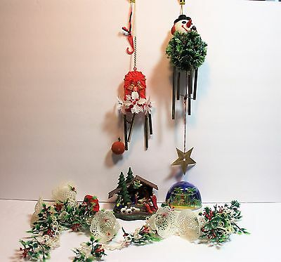 Junk Drawer Destash LOT of 6 Christmas Vintage Collectible Plastics Wind chimes