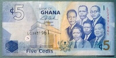 GHANA 5 CEDIS  NOTE ISSUED 01.07. 2007.  P 38 a