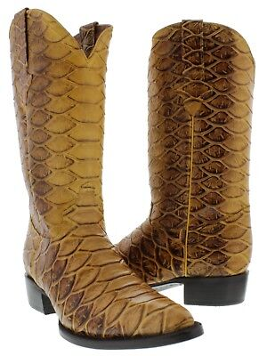 Rustic Yellow Butter Anaconda Snake Design Leather Cowboy Boots Western Rodeo