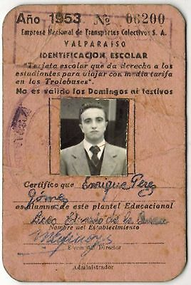 Chile 1953 Card School Passes in trolleybus bus Valparaiso