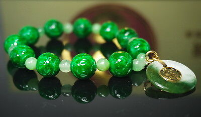 Antique Old Chinese 12.4 mm Beads Green Bracelet Natural Grade A Jadeite Jade