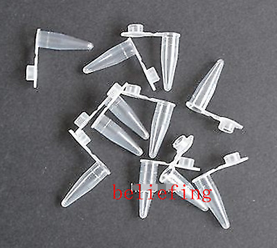 New 200pcs 0.5ml Clear Cylinder Bottom Micro Centrifuge Tubes w Caps