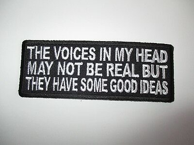 The voices in my head.....Embroidered Patch Sew/Iron Rider biker Motorcycle vest