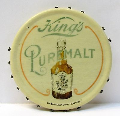 rare KING'S PUREMALT pre-prohibition BEER celluloid pocket mirror PIN Holder *